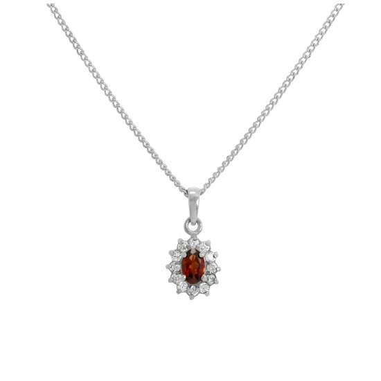Sterling Silver Garnet & CZ Crystal Oval Pendant Necklace 16 - 24 Inches
