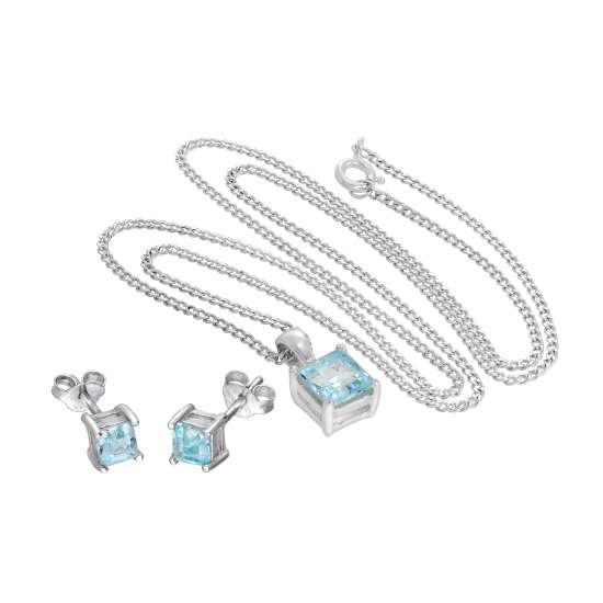 Sterling Silver Square Sky Blue Topaz Pendant on 16 - 24 Inches Chain & Stud Earrings Set