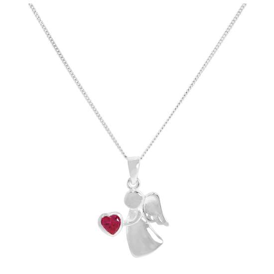 Sterling Silver & Ruby CZ Crystal July Birthstone Angel Pendant Necklace 14 - 32 Inches