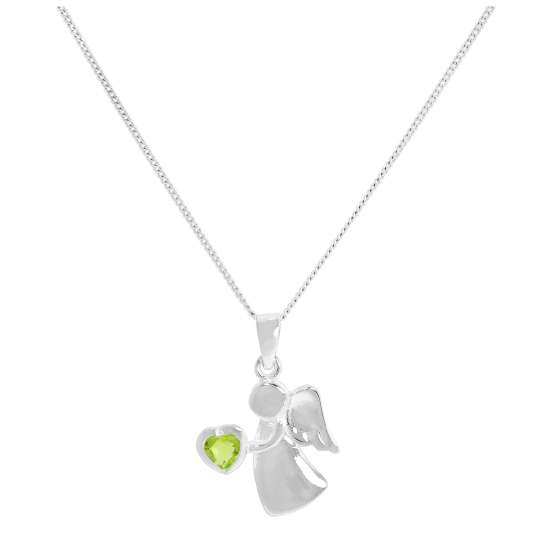 Sterling Silver & Peridot CZ Crystal August Birthstone Angel Pendant Necklace 14 - 32 Inches