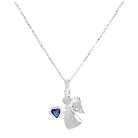 Sterling Silver & Sapphire CZ Crystal September Birthstone Angel Pendant Necklace 14 - 32 Inches
