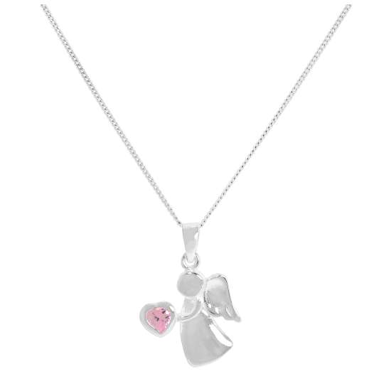 Sterling Silver & Tourmaline CZ Crystal October Birthstone Angel Pendant Necklace 14 - 32 Inches