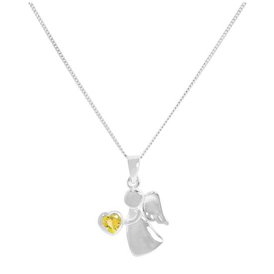 Sterling Silver & Citrine CZ Crystal November Birthstone Angel Pendant Necklace 14 - 32 Inches