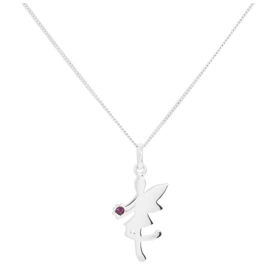 Sterling Silver & Amethyst CZ Crystal February Birthstone Funky Fairy Pendant Necklace 14 - 32 Inches