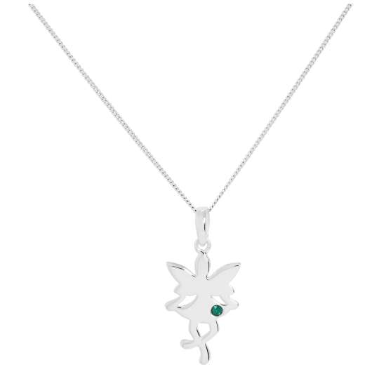 Sterling Silver & Emerald CZ Crystal May Birthstone Funky Fairy Pendant Necklace 14 - 32 Inches