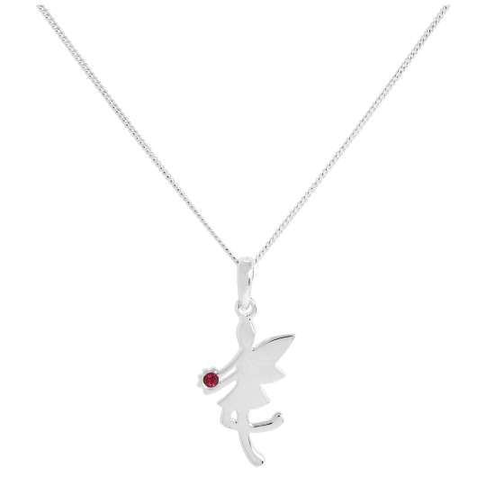 Sterling Silver & Ruby CZ Crystal July Birthstone Funky Fairy Pendant Necklace 14 - 32 Inches