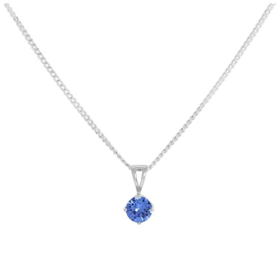 Sterling Silver & Sapphire Crystal Made with Swarovski Elements September Birthstone Pendant Necklace 16 - 24 Inches