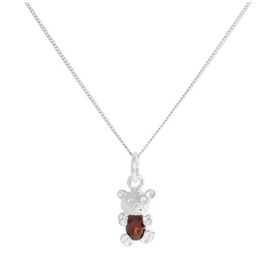 Sterling Silver January Garnet CZ Birthstone Bear Necklace 14 - 32 Inches