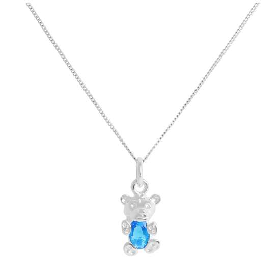 Sterling Silver March Aquamarine CZ Birthstone Bear Necklace 14 - 32 Inches