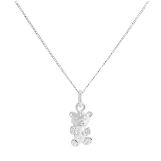 Sterling Silver April Clear CZ Birthstone Bear Necklace 14 - 32 Inches