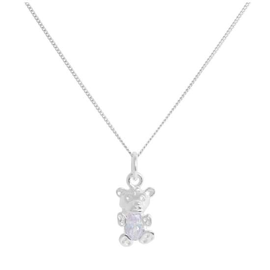 Sterling Silver June Alexandrite CZ Birthstone Bear Necklace 14 - 32 Inches