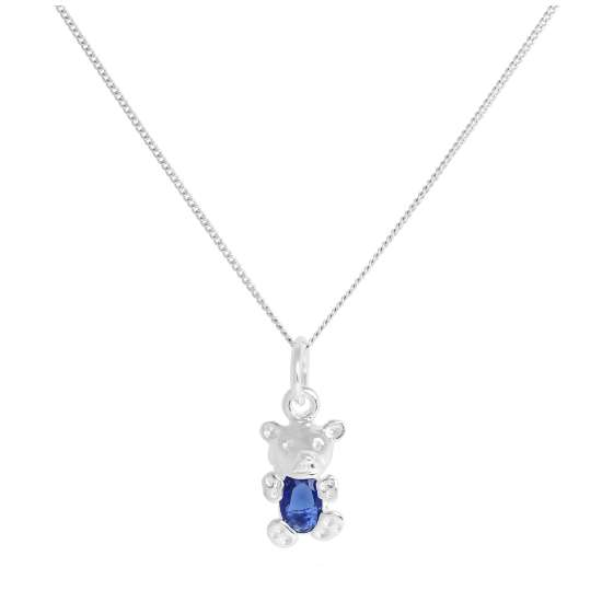 Sterling Silver September Sapphire CZ Birthstone Bear Necklace 14 - 32 Inches