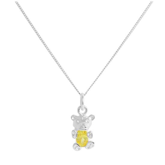 Sterling Silver November Citrine CZ Birthstone Bear Necklace 14 - 32 Inches