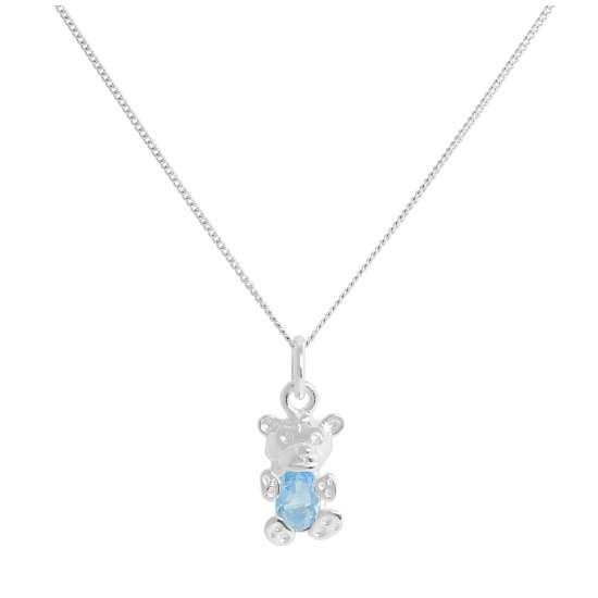 Sterling Silver December Blue Zircon CZ Birthstone Bear Necklace 14 - 32 Inches