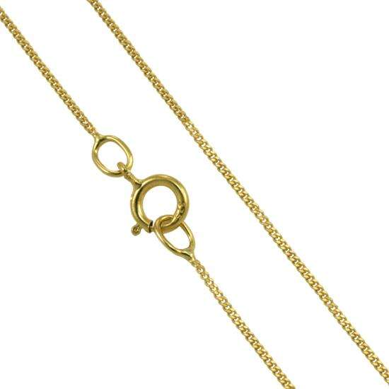9ct Yellow Gold Diamond Cut Curb Chain 16 - 18 Inches