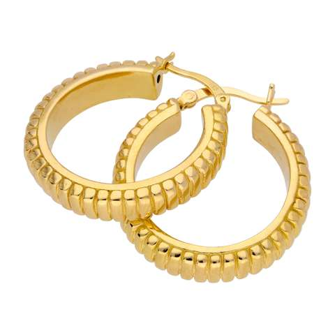 Gold Plated Sterling Silver Hollow Lined 26mm Hoop Earrings