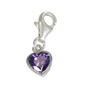 TheCharmWorks Sterling Silver Purple Heart Crystal Charm