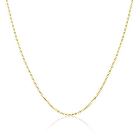 9ct Yellow Gold Diamond Cut Curb Chain 16 - 20 Inches