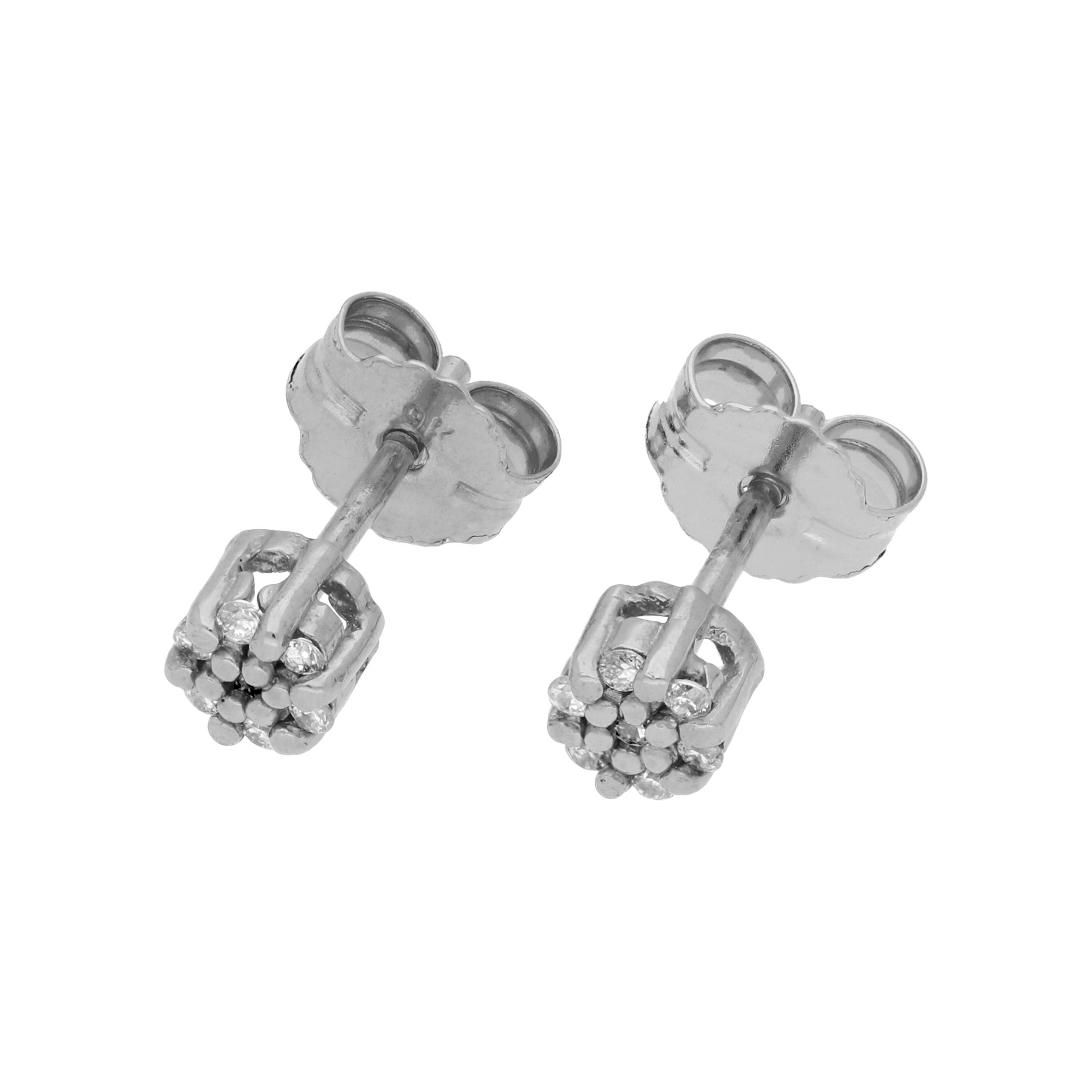 An image of 0 063ct Diamond 9ct White Gold Cluster Stud Earrings