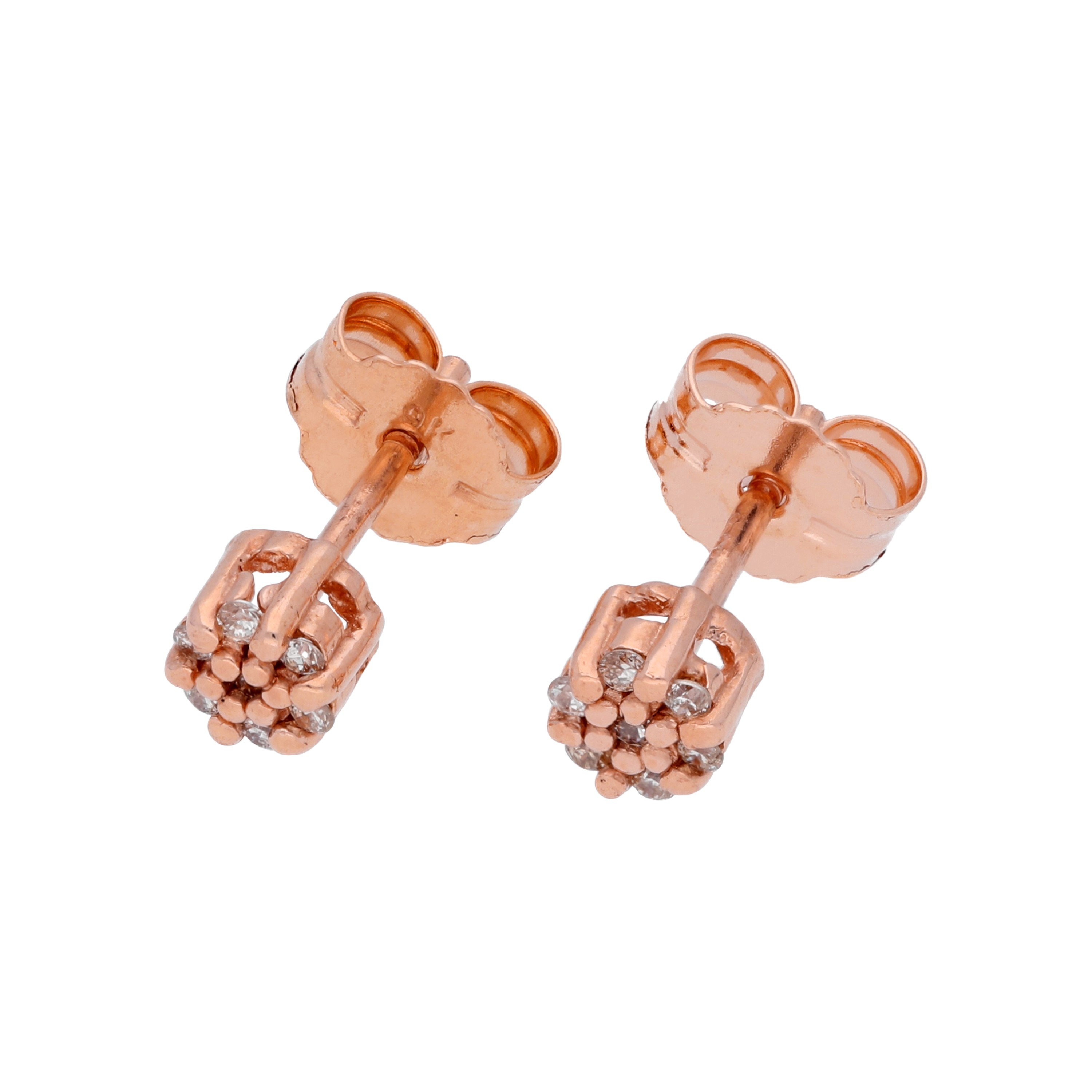 An image of 0 063ct Diamond 9ct Rose Gold Cluster Stud Earrings