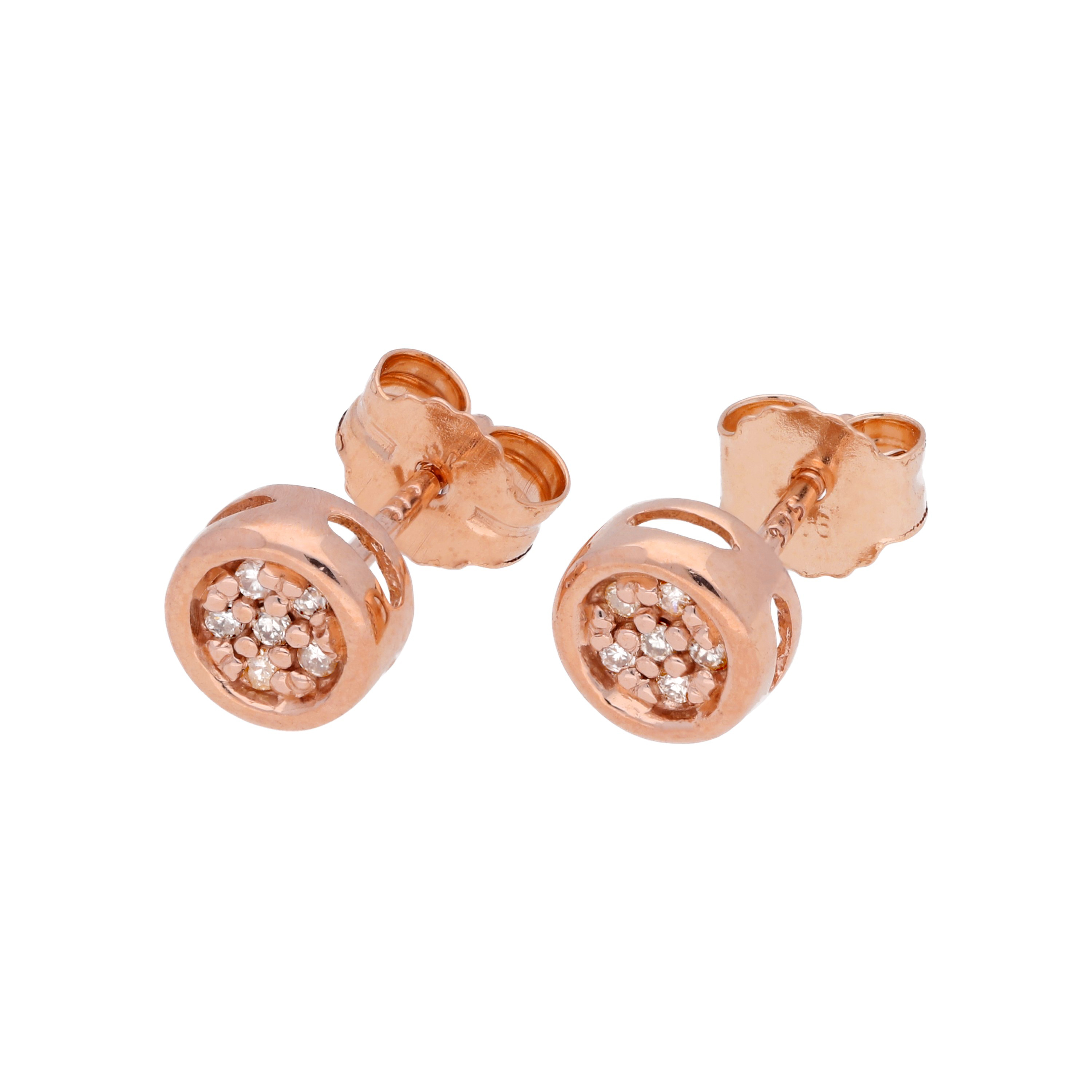 An image of 0 054ct Diamond 9ct Rose Gold Cluster Stud Earrings