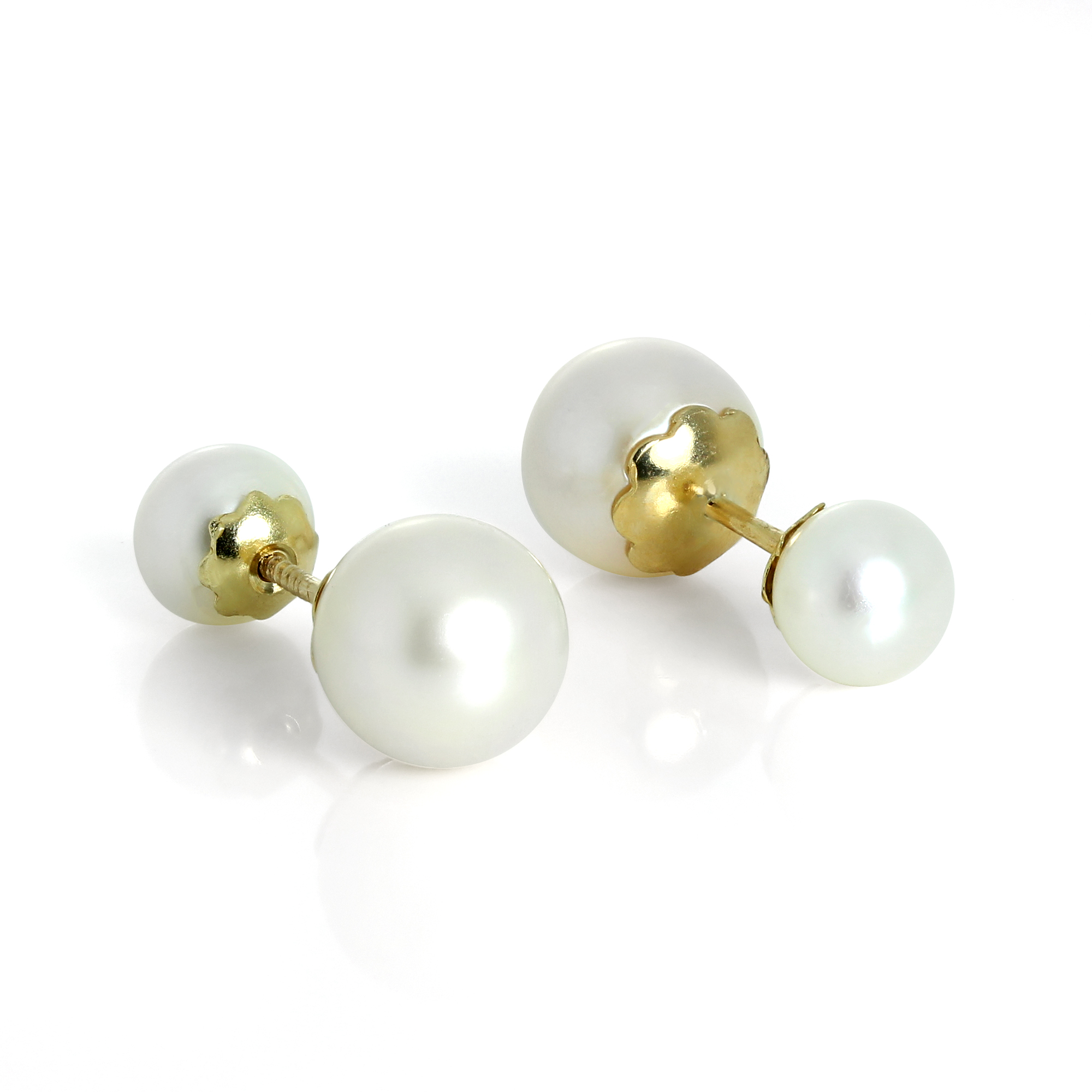 earrings pearl freshwater cluster gold stud studs none image in yellow