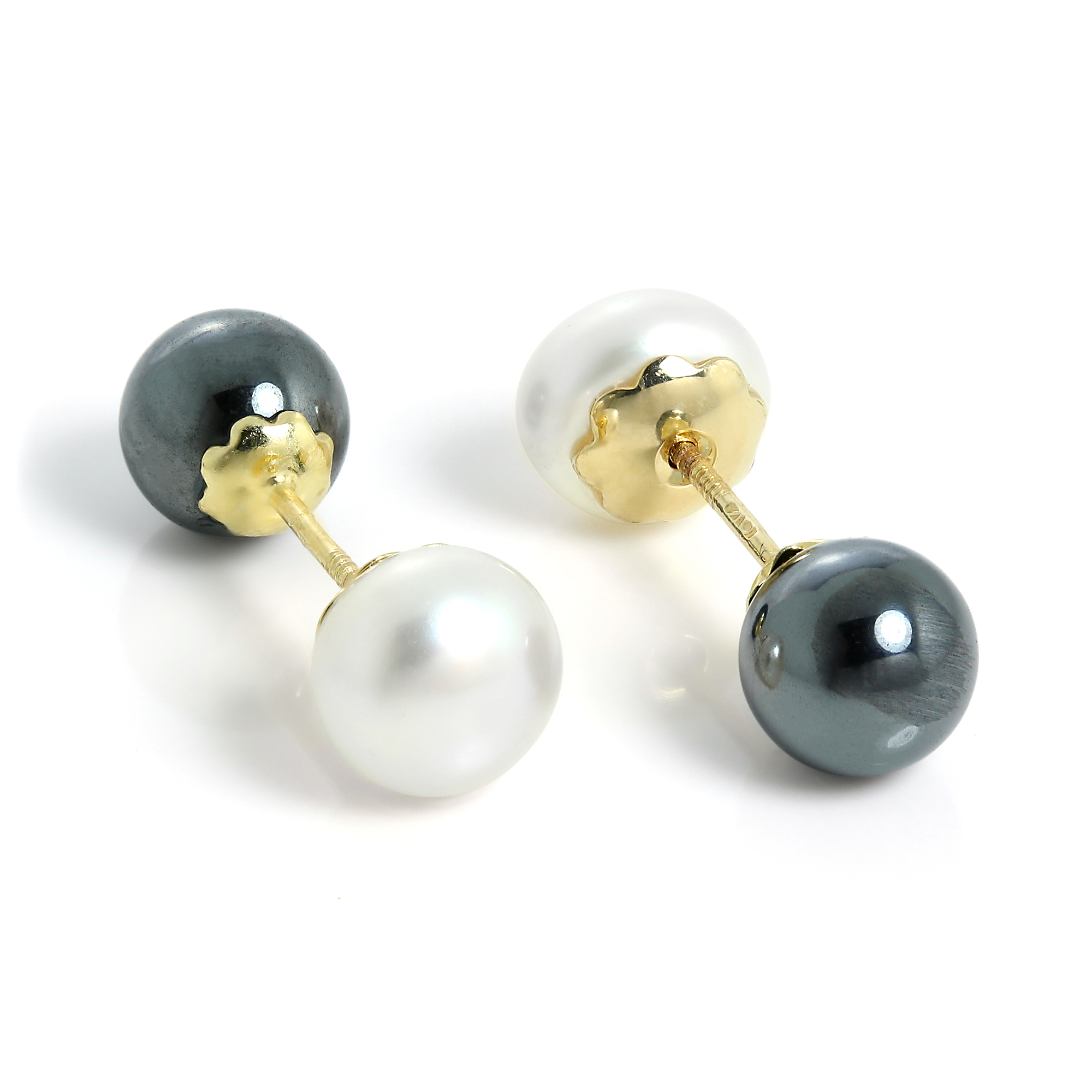 freshwater itm sided pearl pearls studs gold double stud amj earrings