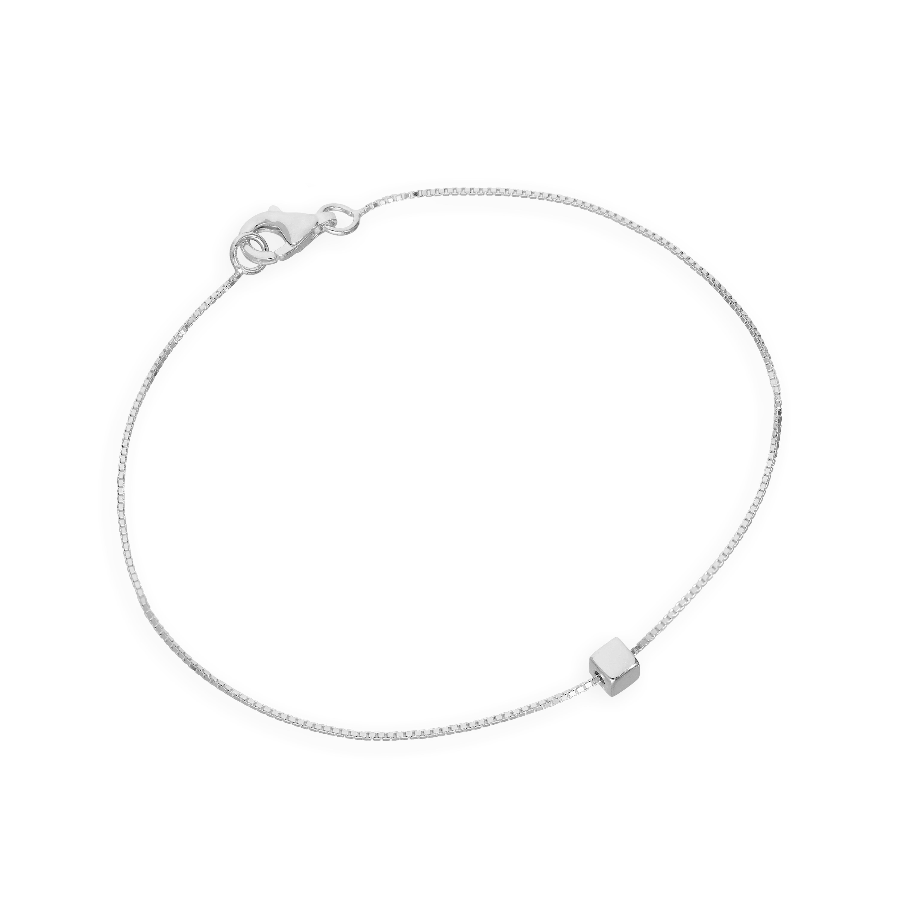 0bc2cf084927f Details about Real 925 Sterling Silver 7 Inch Box Chain Bracelet w Cube  Bead Square Box