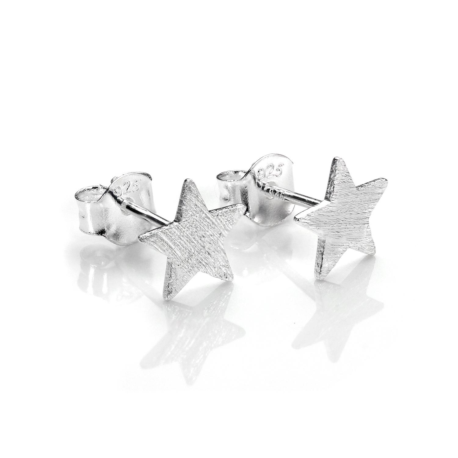 79747edfe Details about Brushed 925 Sterling Silver Flat Star Stud Earrings / Stars /  Xmas Studs