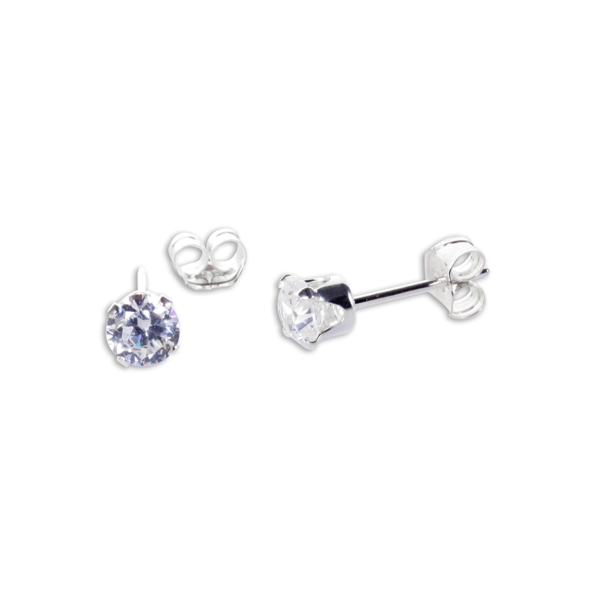 An image of Sterling Silver Clear CZ 4mm Round Stud Earrings