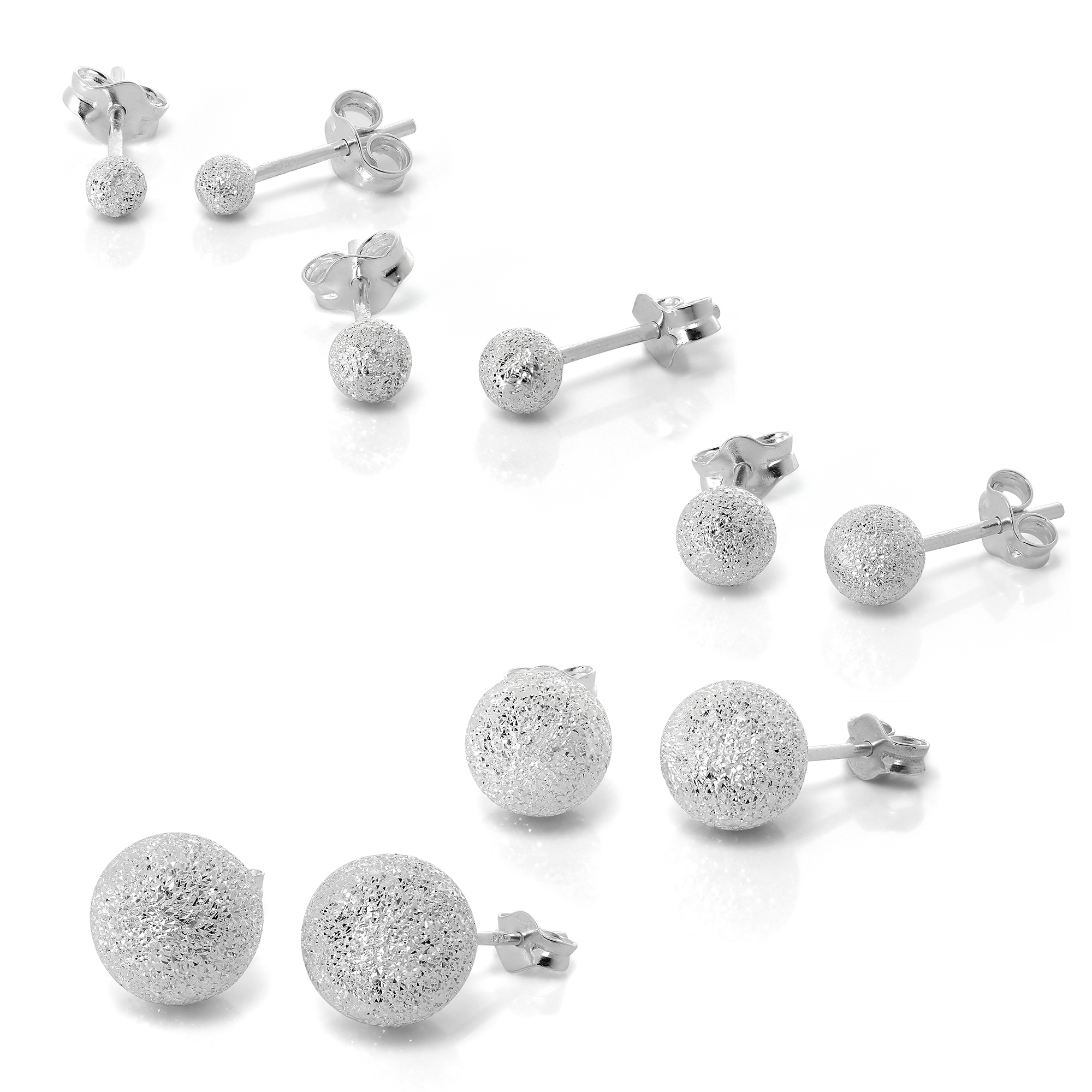 925 Real Sterling Silver Double Sided 4mm Ball Stud