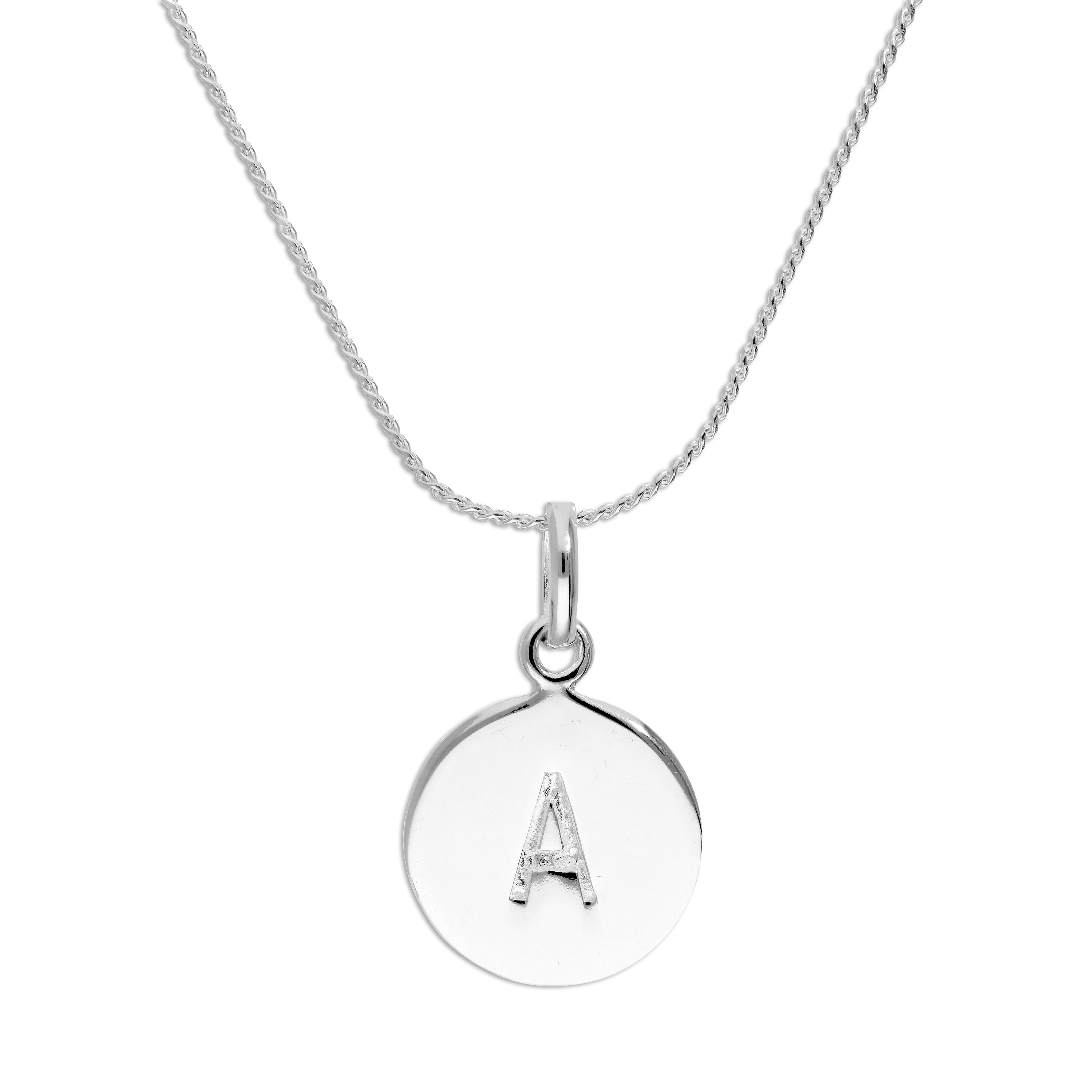 An image of Sterling Silver Initial Letter A Necklace 22 Inches Blue