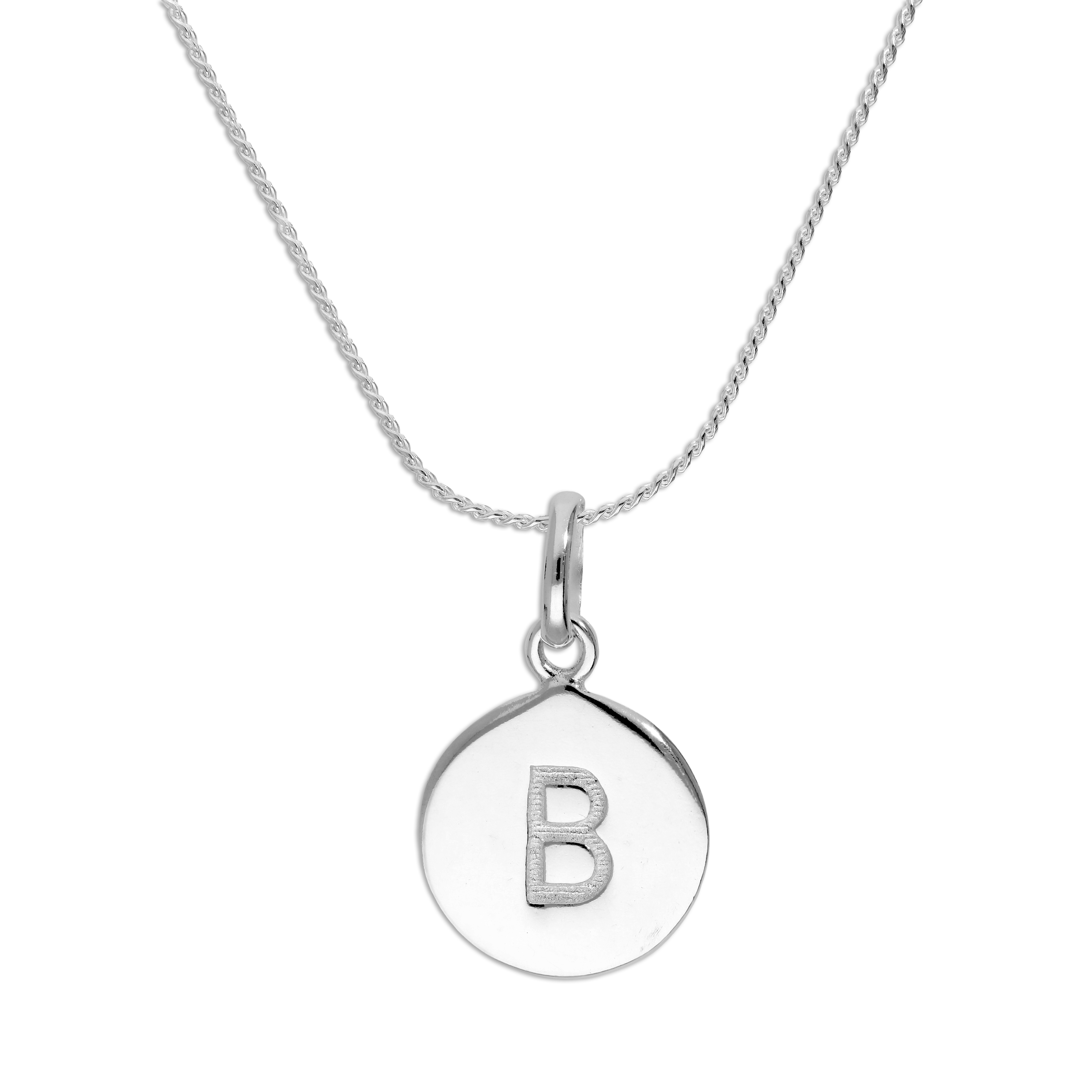 An image of Sterling Silver Initial Letter B Necklace 22 Inches Blue