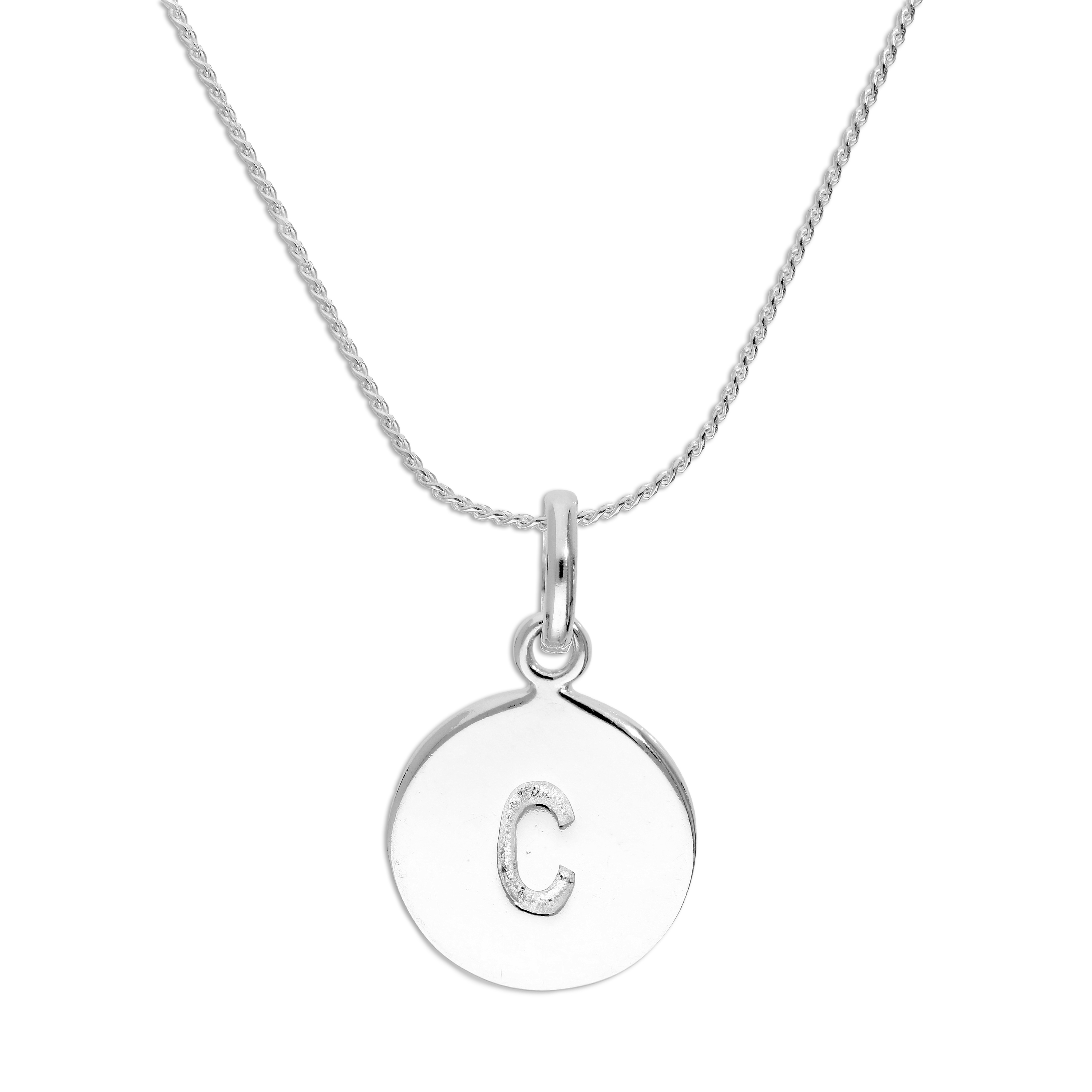 An image of Sterling Silver Initial Letter C Necklace 18 Inches Blue