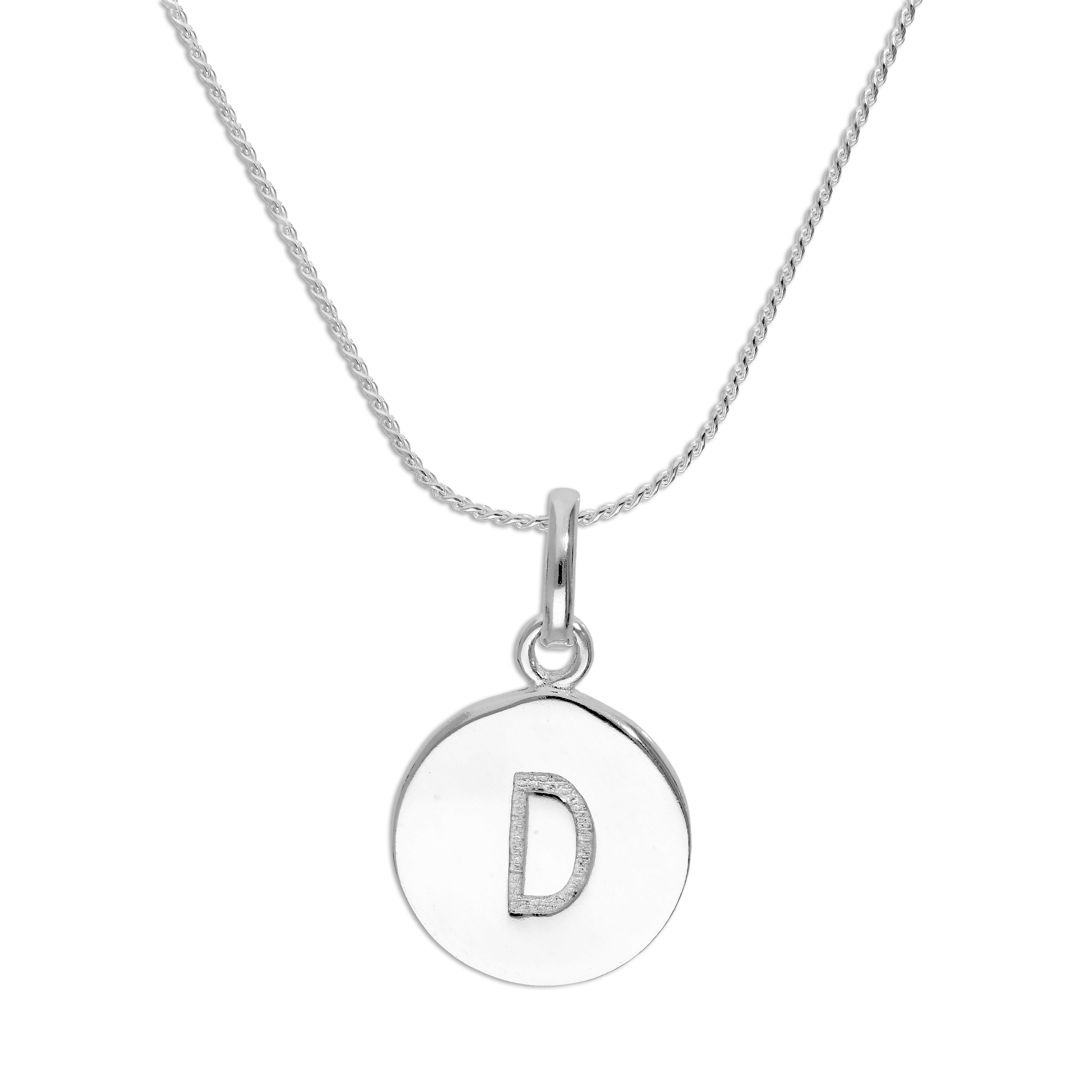 An image of Sterling Silver Initial Letter D Necklace 20 Inches Blue