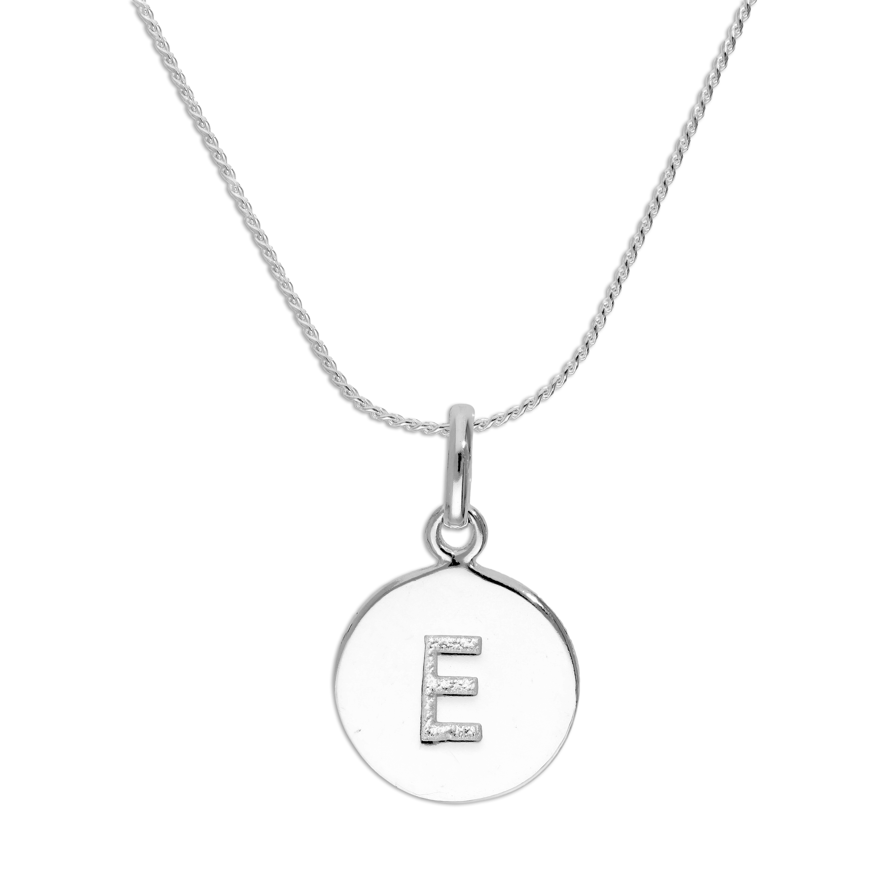 An image of Sterling Silver Initial Letter E Necklace 22 Inches Blue