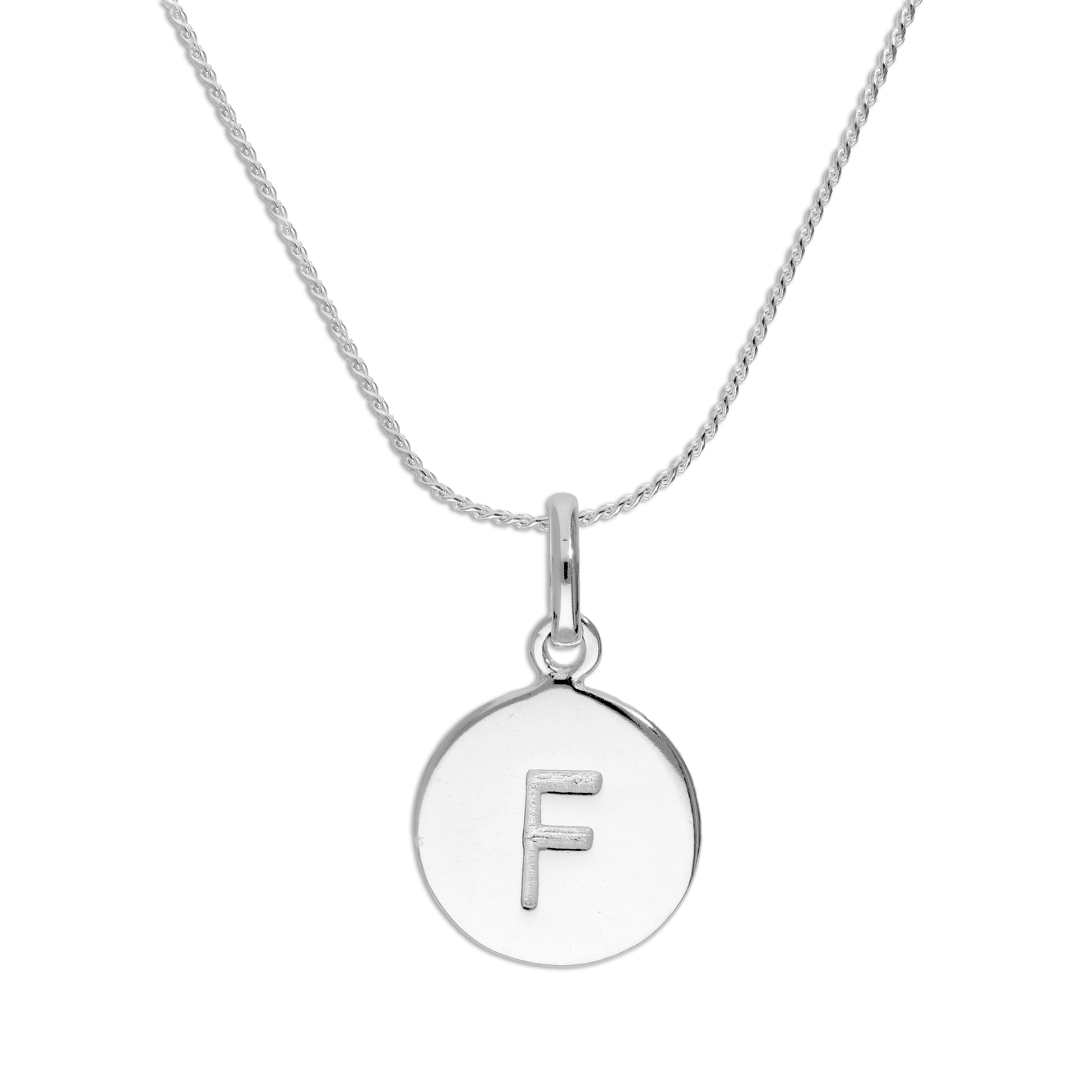 An image of Sterling Silver Initial Letter F Necklace 18 Inches Blue