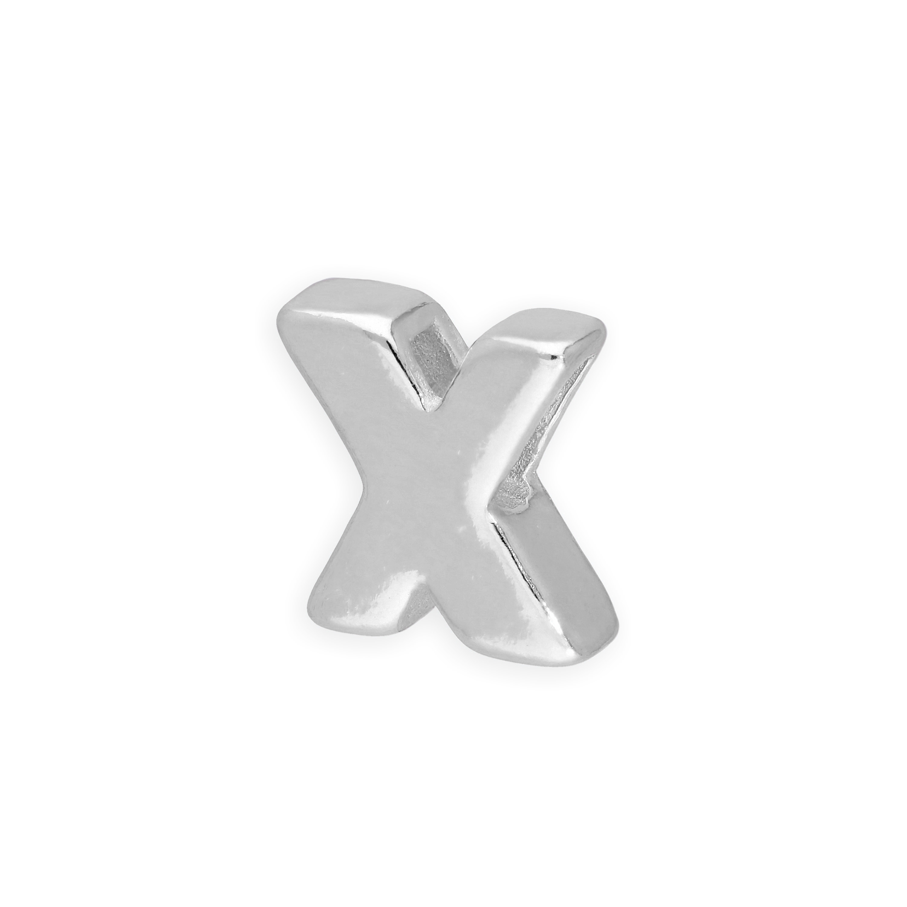 An image of Sterling Silver Alphabet Letter Threader Bead X