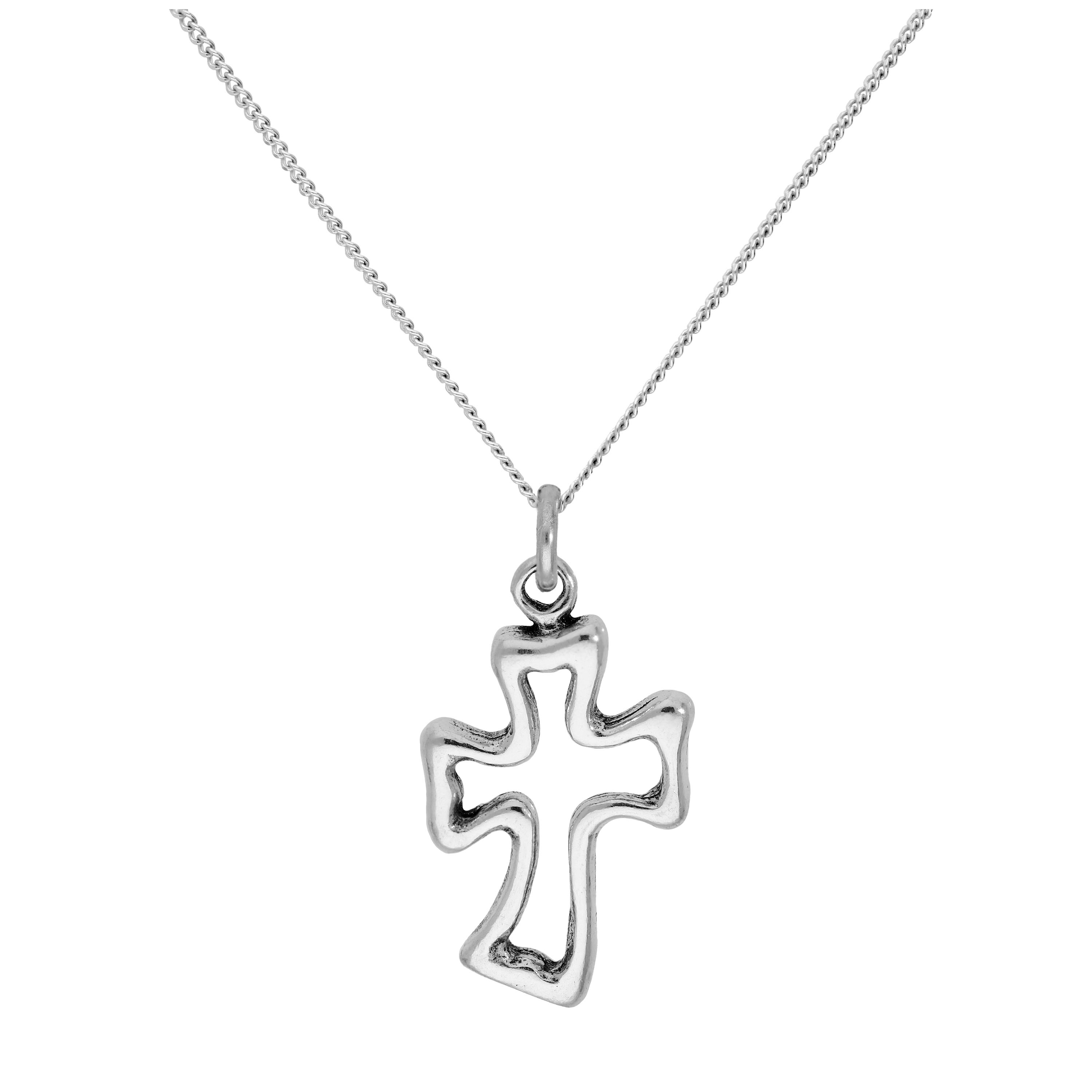 An image of Sterling Silver Twisty Cross Pendant on 16 2 Inches Diamond Cut Chain