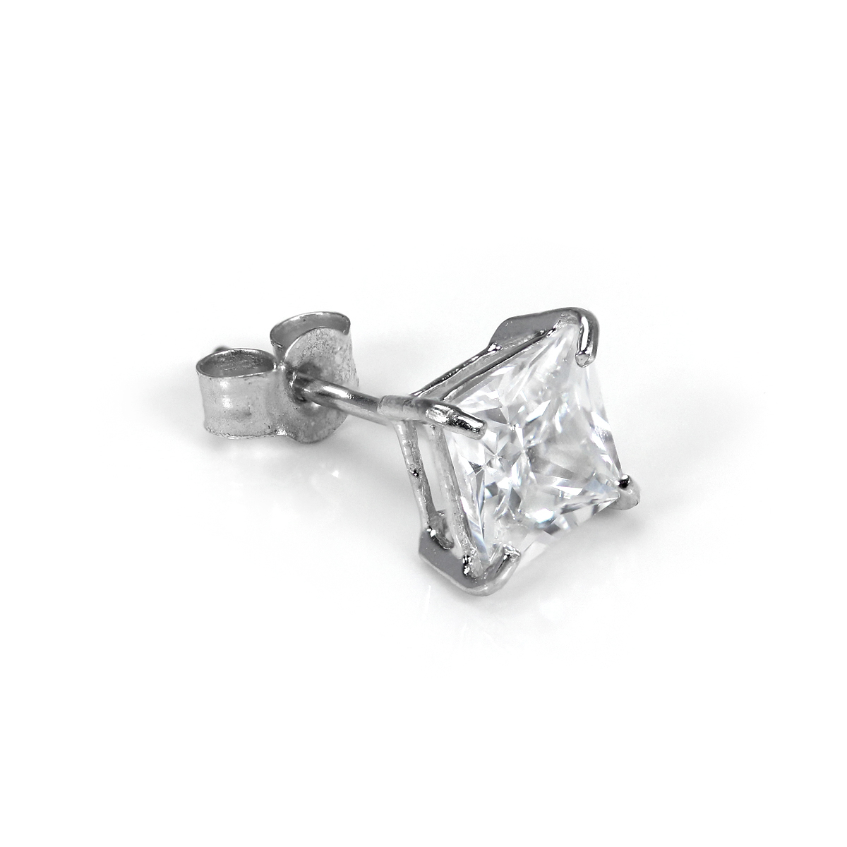 85a37ecfc3f5e Details about 9ct White Gold Men's 5mm Square Crystal Ear Stud Earring /  Studs / Mens / CZ