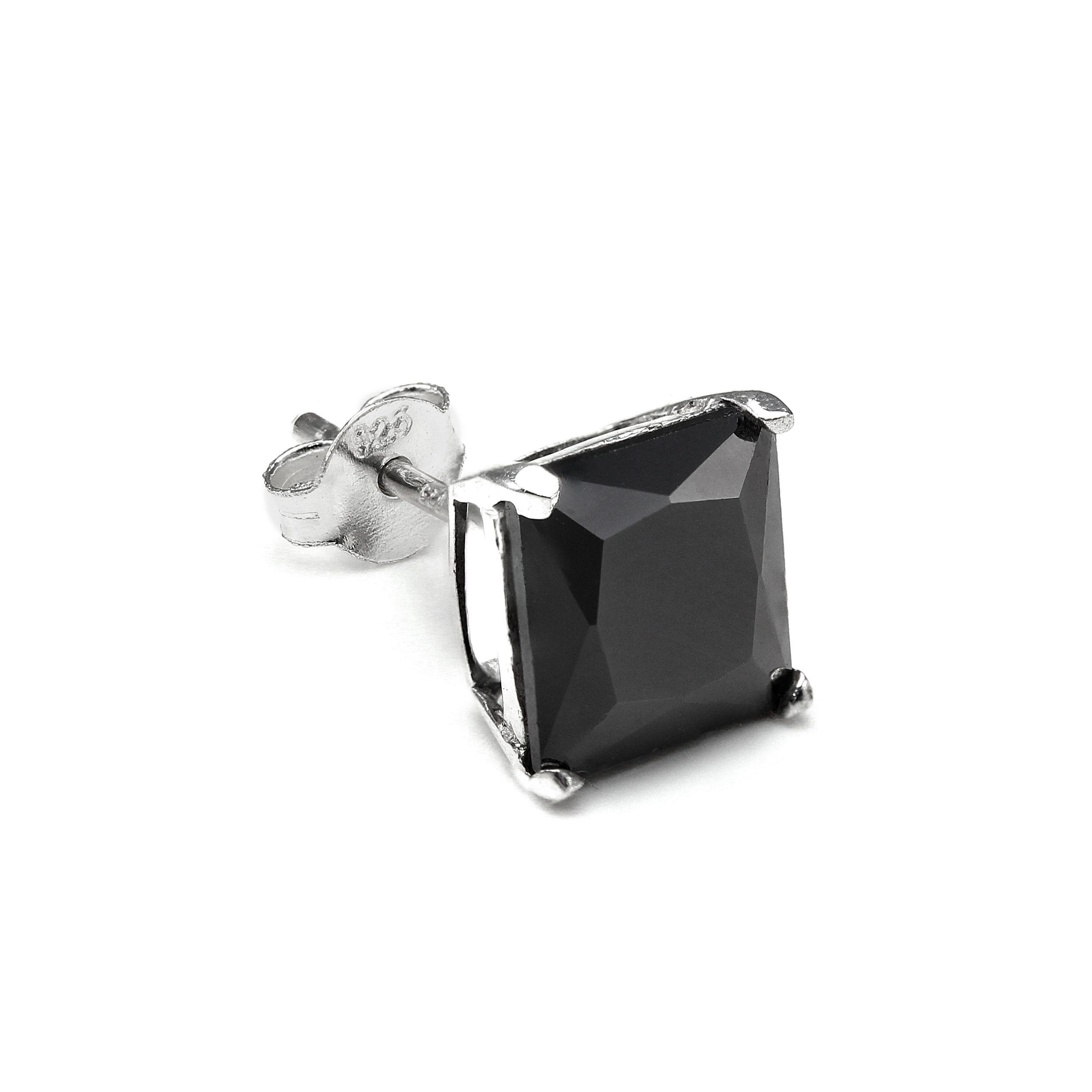 d0913f22378df Details about Sterling Silver Square CZ Crystal Mens Ear Stud / Single /  Clear Black / 4-10mm