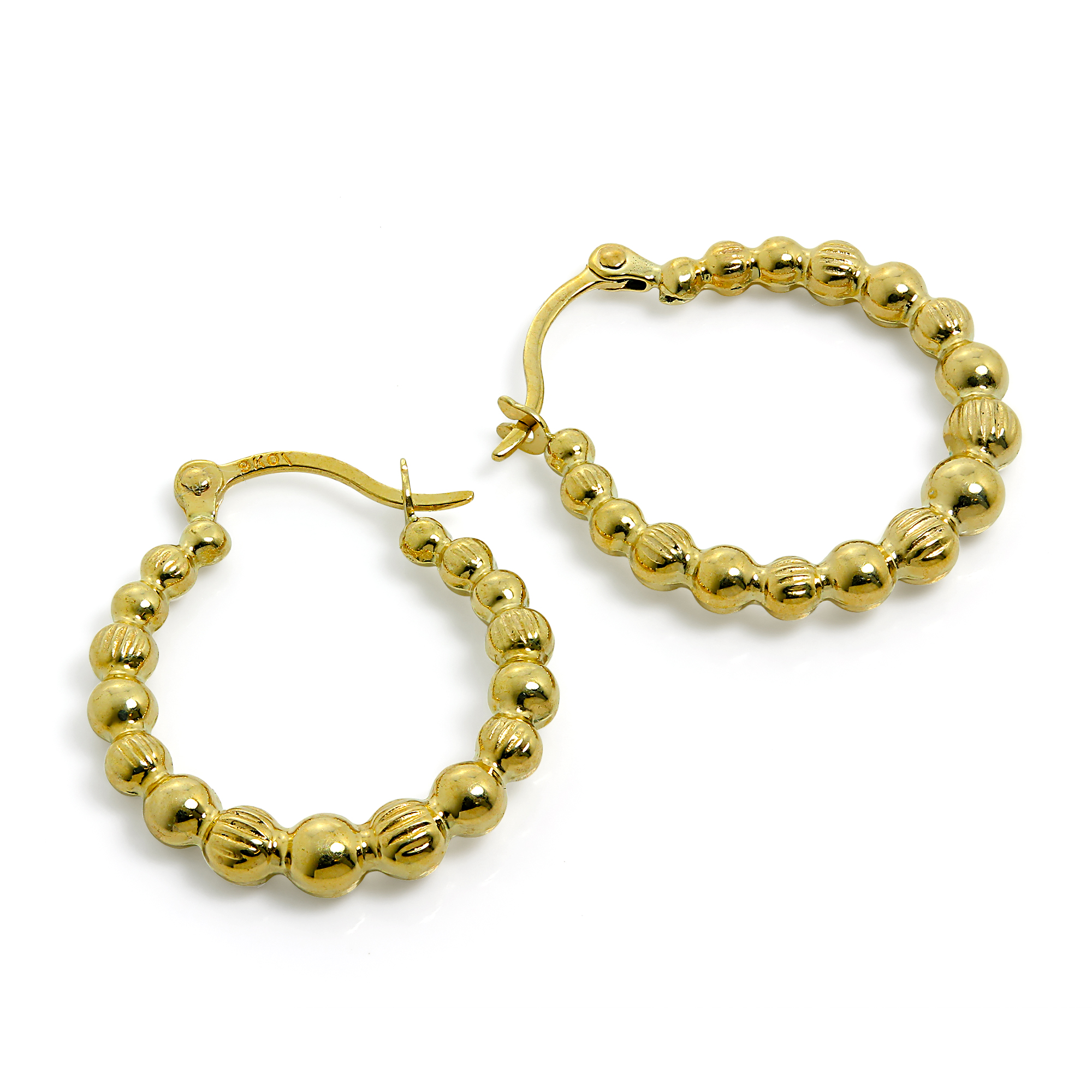 Details About 9ct Gold Beaded Creole 12mm Hoop Earrings 375 Creoles Bead Hoops