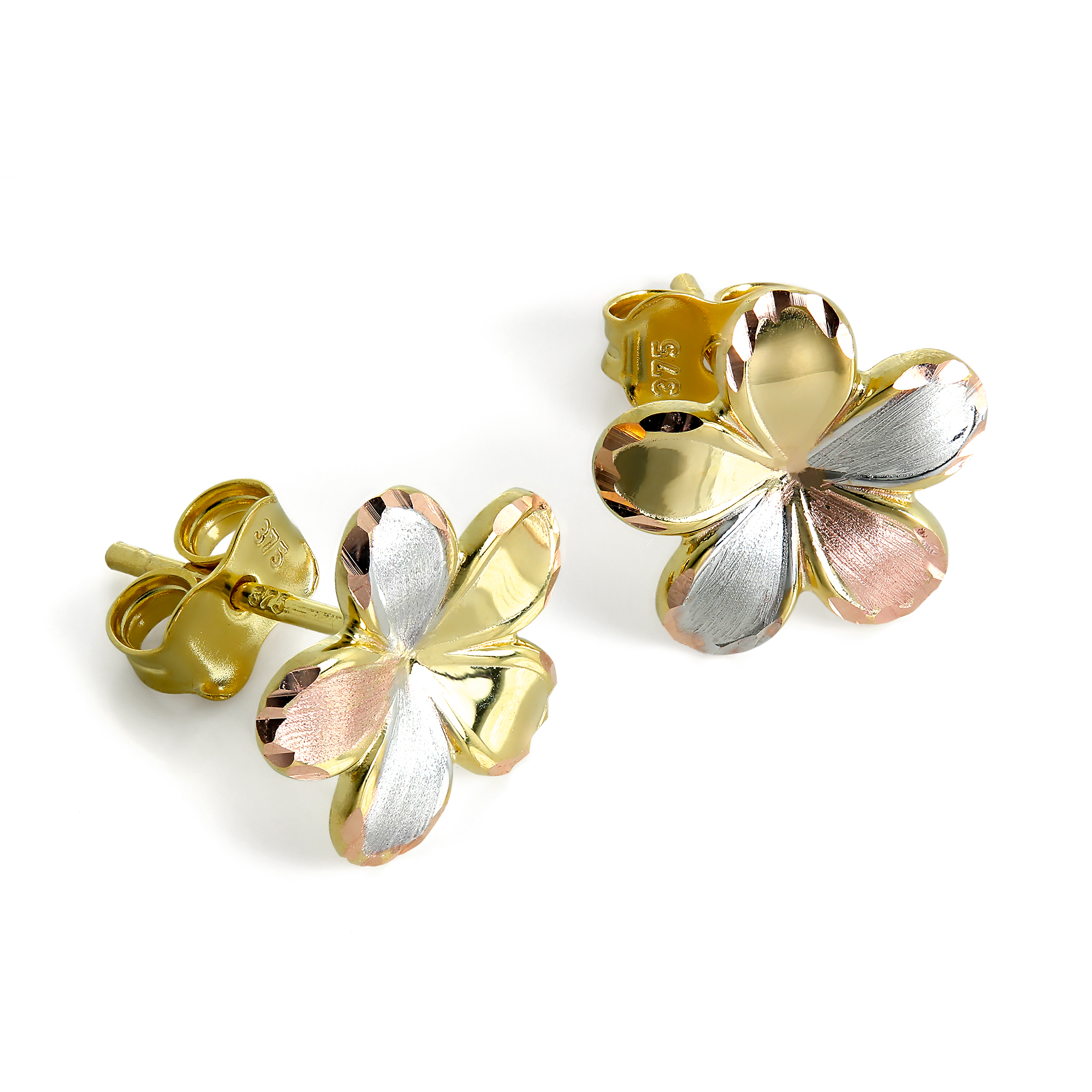 f54b182f9 Details about 9ct Yellow Rose & White Gold Flower Stud Earrings 375 Mixed Studs  Flowers