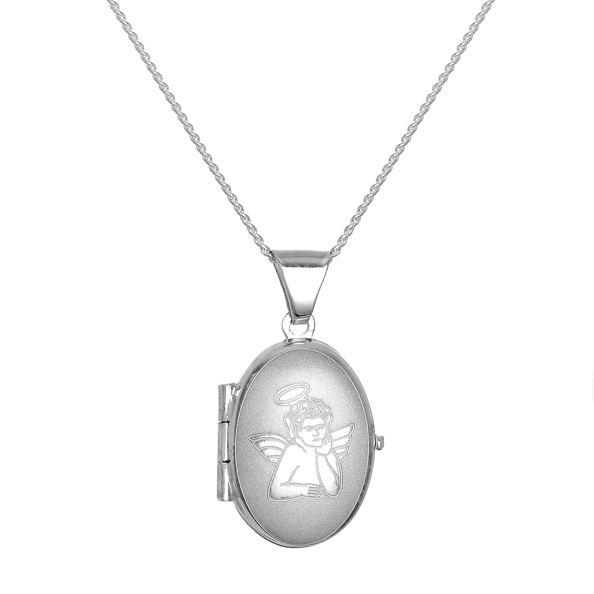 An image of Small Matt Sterling Silver Oval Locket with Angel on 18 Inch Chain
