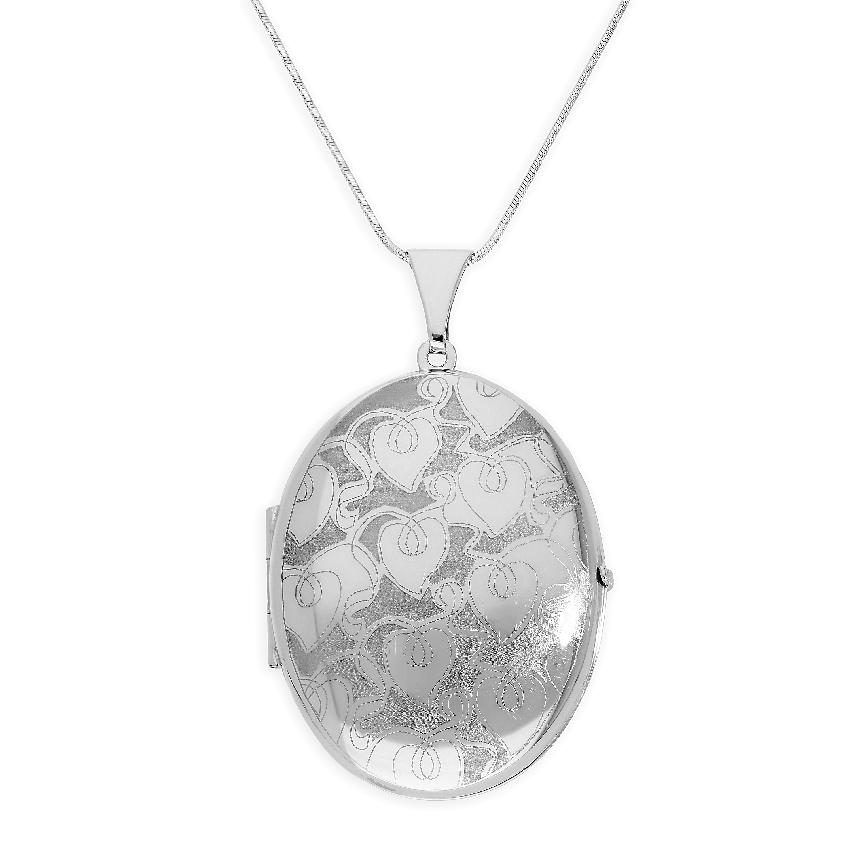 An image of Large Matt Sterling Silver Engravable Hearts Vines Oval Locket on 20 Inches Chai...