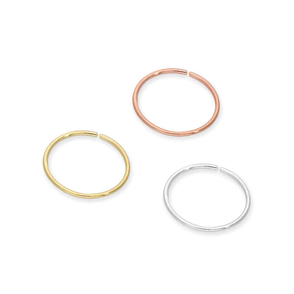 9ct Gold 8mm Nose Hoop Ring Set- Yellow Rose White