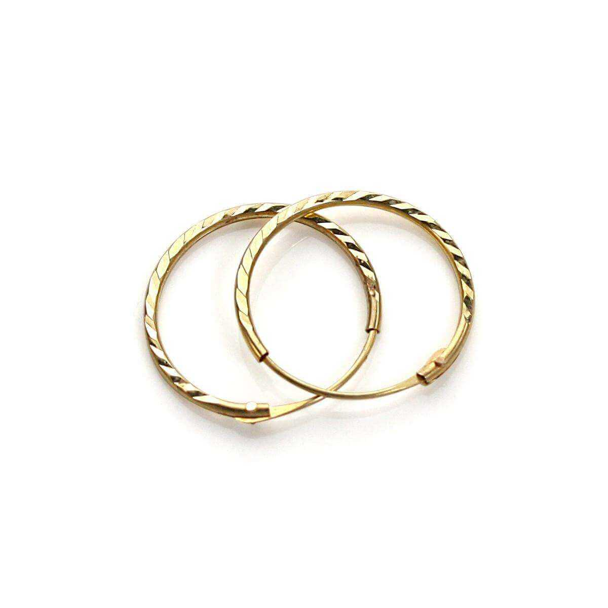 9ct Yellow Gold diamond cut 12mm Hoop Earrings