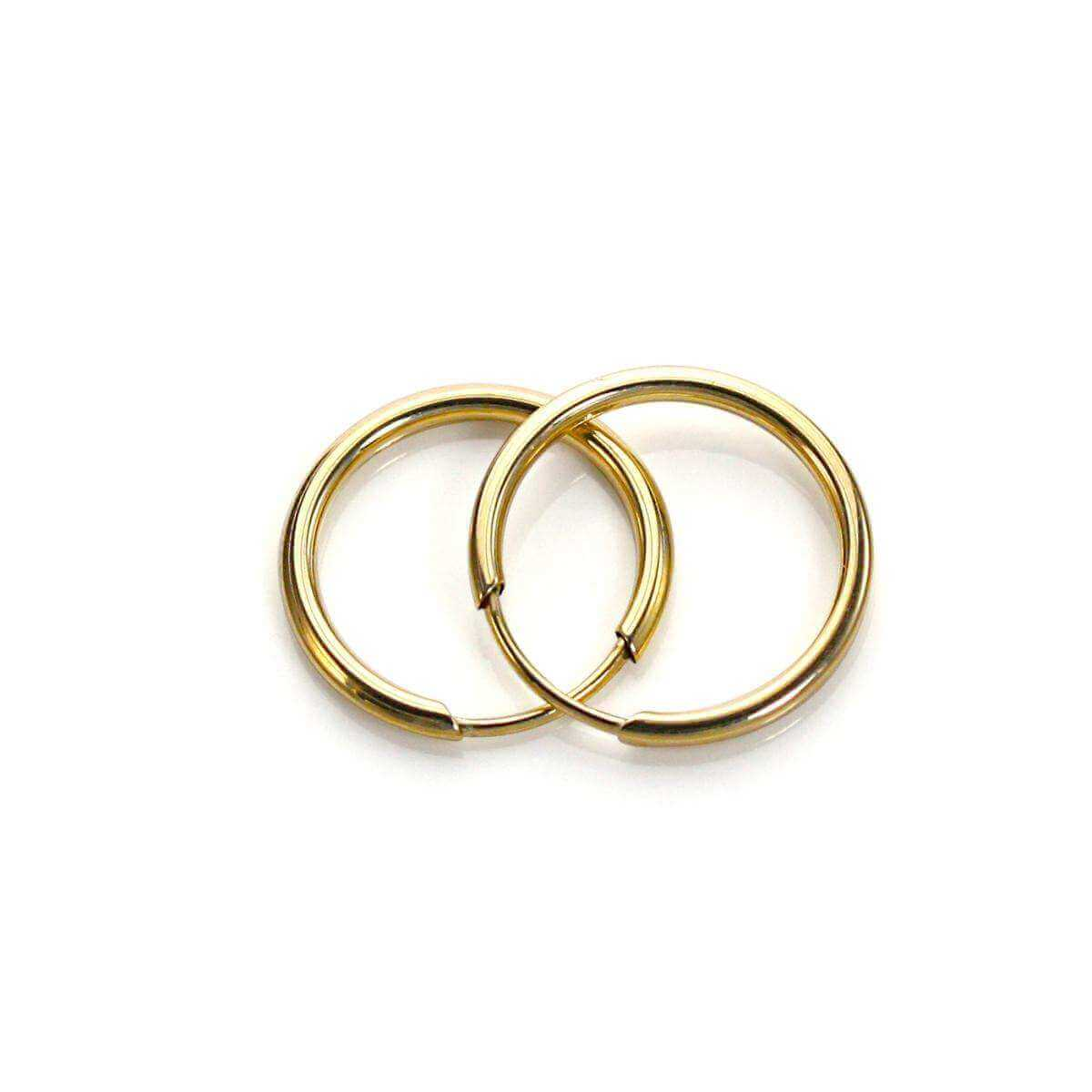 9ct Yellow Gold Plain 13mm Hoop Earrings