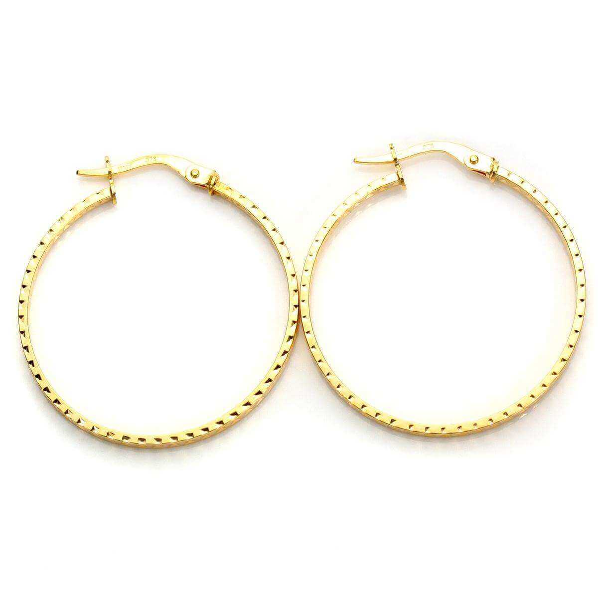 9ct Yellow Gold 28mm Diamond Cut Square Hoop Earrings