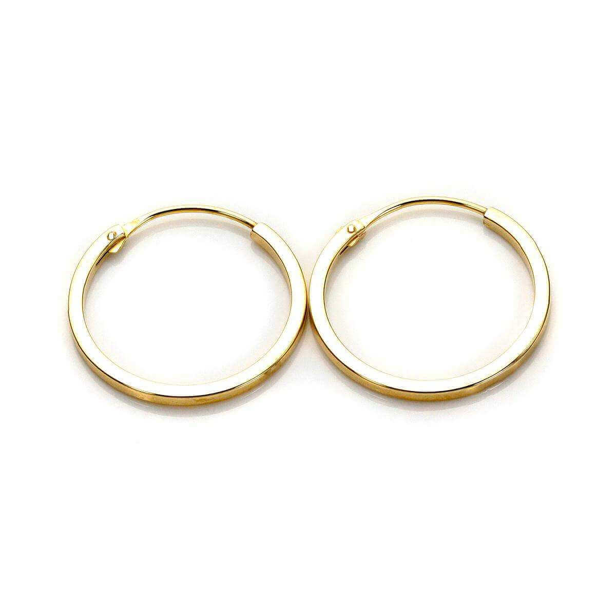 9ct Yellow Gold 14mm Square Hoop Earrings